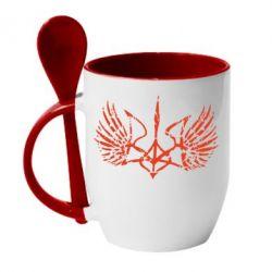 Кружка с керамической ложкой Герб з крилами - FatLine