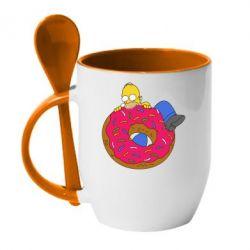 Кружка с керамической ложкой Гомер и Пончик - FatLine