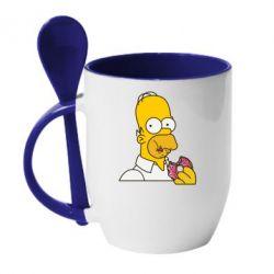 Кружка с керамической ложкой Гомер любит пончики