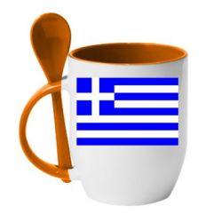 Кружка с керамической ложкой Греция - FatLine