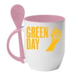Кружка с керамической ложкой Green Day American Idiot - FatLine