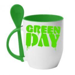 Кружка с керамической ложкой Green Day - FatLine