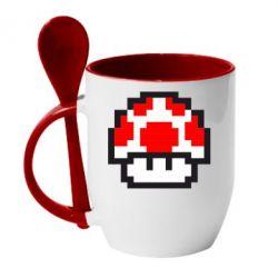 Кружка с керамической ложкой Гриб Марио в пикселях - FatLine