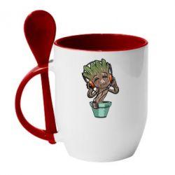 Кружка с керамической ложкой Groot - FatLine