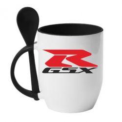 Кружка с керамической ложкой GSX-R - FatLine