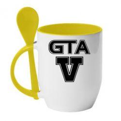 Кружка с керамической ложкой GTA 5