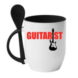 Кружка с керамической ложкой Guitarist - FatLine