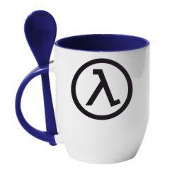 Кружка с керамической ложкой Half Life Logo