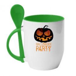 Кружка с керамической ложкой Halloween Party - FatLine