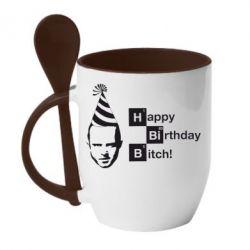 Кружка с керамической ложкой Happy Birthdey Bitch Во все тяжкие - FatLine