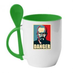 Кружка с керамической ложкой Heisenberg Danger - FatLine