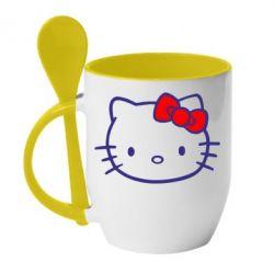 Кружка с керамической ложкой Hello Kitty logo - FatLine