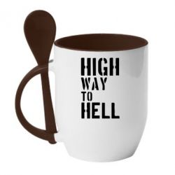 Кружка с керамической ложкой High way to hell