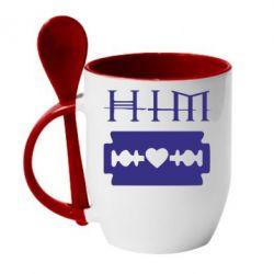 Кружка с керамической ложкой HIM - FatLine