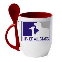 Кружка с керамической ложкой Hip-hop all stars