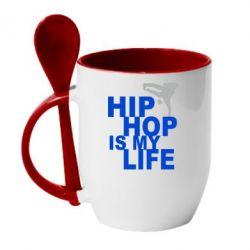 Кружка с керамической ложкой Hip-hop is my life - FatLine