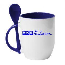 Кружка с керамической ложкой HKS logo - FatLine