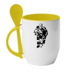 Кружка с керамической ложкой Хоккеисты - FatLine