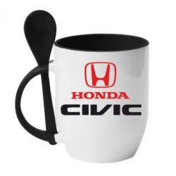 Кружка с керамической ложкой Honda Civic - FatLine