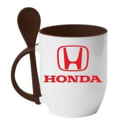 Кружка с керамической ложкой Honda Classic - FatLine