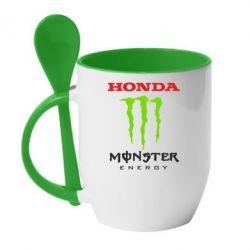 Кружка с керамической ложкой Honda Monster Energy - FatLine