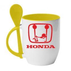 Кружка с керамической ложкой Honda - FatLine