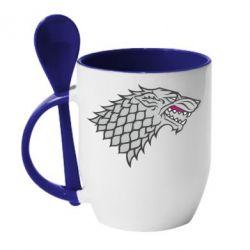 Кружка с керамической ложкой House Stark - FatLine