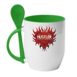 Кружка с керамической ложкой Hustler Hollywood - FatLine