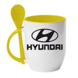 Кружка с керамической ложкой Hyundai Small - FatLine