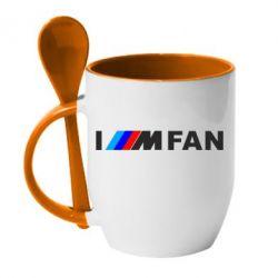 Кружка з керамічною ложкою I am FAN