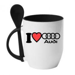 Кружка с керамической ложкой I love audi - FatLine