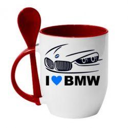 Кружка с керамической ложкой I love BMW 2 - FatLine