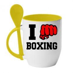 Кружка с керамической ложкой I love boxing - FatLine