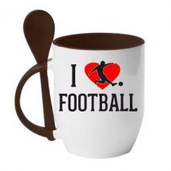 Кружка с керамической ложкой I love football - FatLine