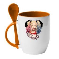 Кружка с керамической ложкой I love Harley Quinn