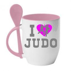Кружка с керамической ложкой I love Judo