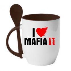 Кружка с керамической ложкой I love Mafia 2