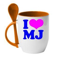 Кружка с керамической ложкой I love MJ