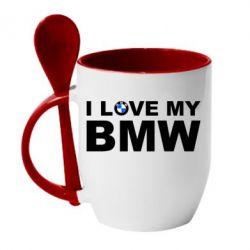 Кружка с керамической ложкой I love my BMW - FatLine