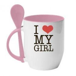 Кружка с керамической ложкой I love my girl - FatLine