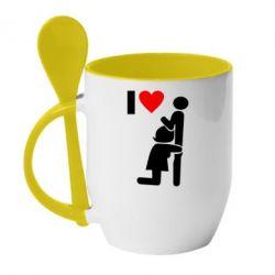 Кружка с керамической ложкой I love oral - FatLine
