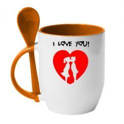 Кружка с керамической ложкой I love you - FatLine