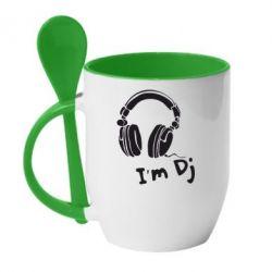 Кружка с керамической ложкой I'm DJ - FatLine
