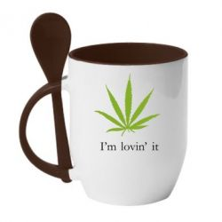 Кружка с керамической ложкой I'm lovin it! - FatLine
