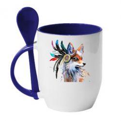 Кружка з керамічною ложкою Indian Fox