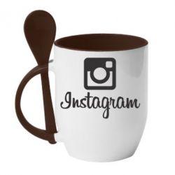 Кружка с керамической ложкой Instagram - FatLine