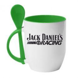 Кружка с керамической ложкой Jack Daniel's Racing