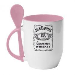 Кружка с керамической ложкой Jack Daniel's Whiskey - FatLine