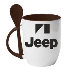 Кружка с керамической ложкой Jeep Logo - FatLine