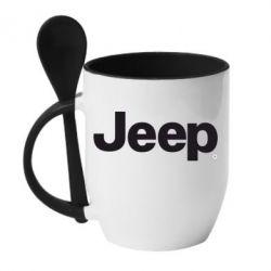 Кружка с керамической ложкой Jeep - FatLine